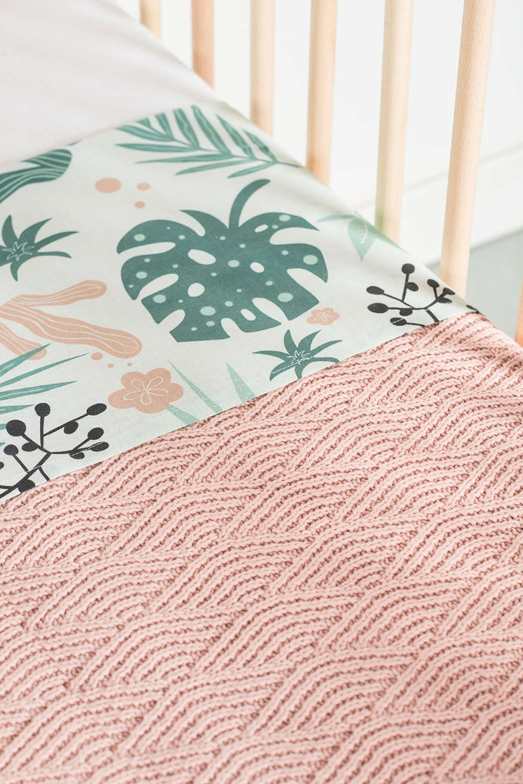 Deken 75x100cm River knit pale pink 3